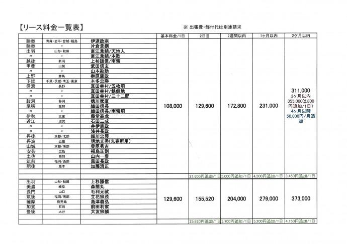 リース料金表1608