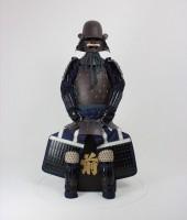 紺糸威鉄錆笠鋲二枚胴具足(頭形)